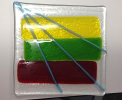 Lithuanian Flag glass design by Grimmijaggers