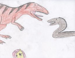 Dinosaur against Snake by Wesdaaman
