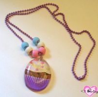 Purple Cupcake Necklace by lessthan3chrissy