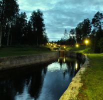 Heinavesi   channel at night by KariLiimatainen