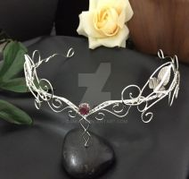 Ivy Leaves Circlet with Garnet by camias