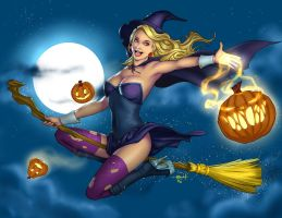 Happy Halloween 2016 - Witch Pin-up by eHillustrations