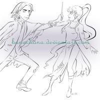 Snape and Star Line Art Commission by banachana