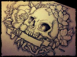 Skull tattoo design by gothicghostjcd