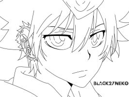 Tsuna Line Art :Remake: by Black27Neko