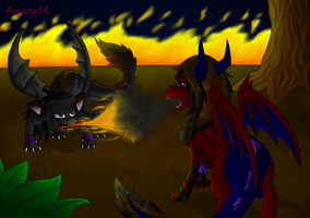 Commission: Dark Battle by CartoonSilverFox