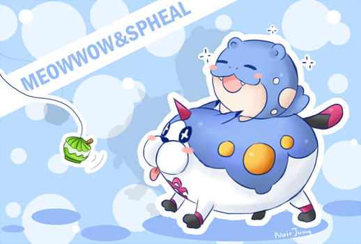 Meow Wow and Spheal by noirjung
