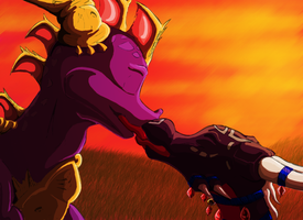 Spyro and Cynder, in COLOR by CharlesFrost