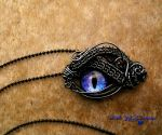 Universe Dragon Eye - Wire Wrap Pendant Small by LadyPirotessa