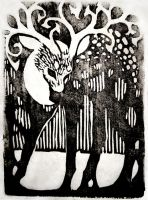 Woodblock Print - Deer by Jeekins