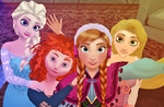 Elsa Anna Merida and Rapunzel Selfie by Dramakid99