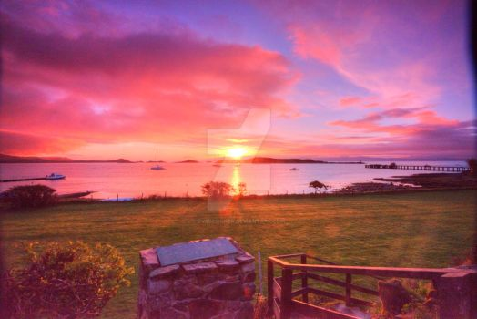 Sunrise over Scotland by dv8designer