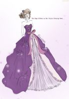 The Huge Ribbon on Her Purple Evening Gown by Remonedo