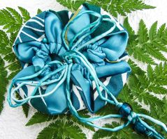 Petrol colored flower pouch by Ravensilver