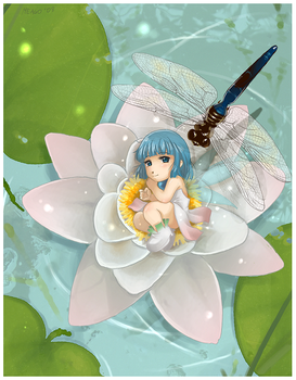 Lilly and dragonfly by meago