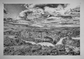 Untitled India-Ink Realistic Landscape Drawing by JacktheFlipper-de