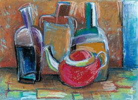 Still life with bottles and teapot by G-Avoyan