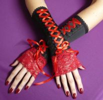 Gothic Lolita Arm Warmers RED by Estylissimo