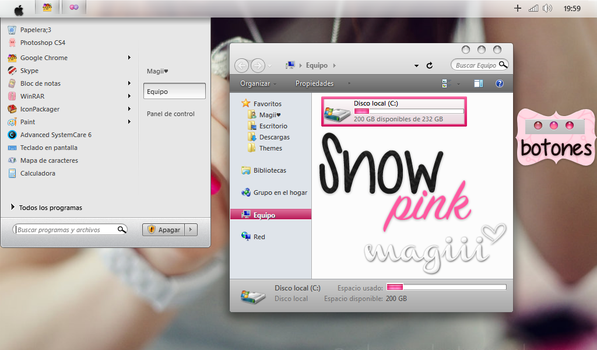 SnowPink for windows7 by MagiiiAsdfghjkl
