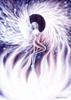 Fantasy pen drawing of a girl rising to the light by CORinAZONe