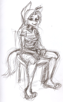 Sitting with a Shirt -Sketch- by Django90
