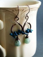 Amazonite and Coral Earrings by SilverDeFactory