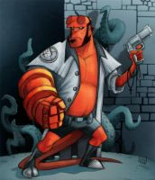 Hellboy and Tentacles by borogove13