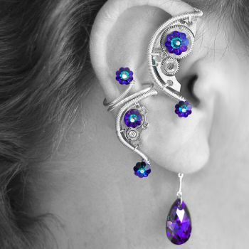 Heliotrope Steampunk Ear Wrap and Cuff Set- SOLD by YouniquelyChic