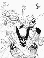 Dante. Wolverine. DeadPool. by thunderking