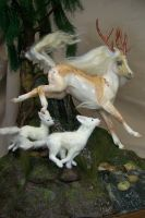 Leaping Kirin and foxes finished by AmandaKathryn