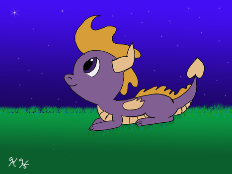 Young Spyro and the Night Sky by minty42