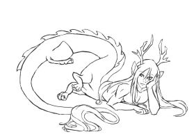 Lineart - Eastern Dragon-taur by SinjaAussiaAngels