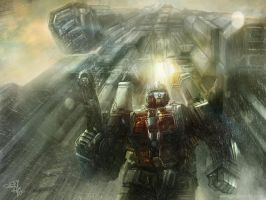 Ultra Magnus + Fortress Maximus (G1) Concept Art by HellBurger