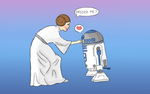 Princess Leia (Carrie Fisher) reuniting with R2D2 by MahiyanaCarudla