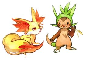 Fennekin and Chespin by oO-Kir-Oo