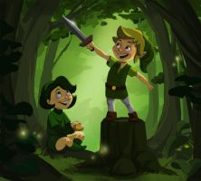 Link and Saria: Woods Kids by TwiggyMcBones