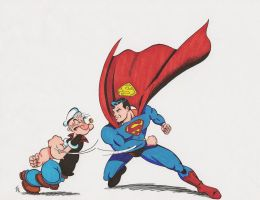Popeye and Superman 1 by zombiegoon