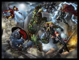 Avengers vs Green Scar poster by spidey0318