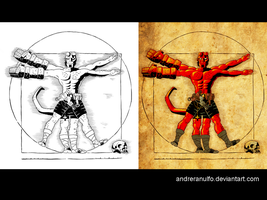 Side-by-side coloring / Vitruvian Hellboy by andreranulfo