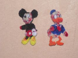 Mickey Mouse and Donald Duck (Zombies) by fuzzyfigureguy