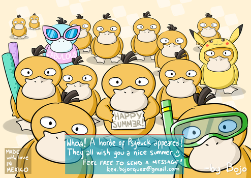 Tropical Psyduck Army (Summer Card Project) by el-bojo