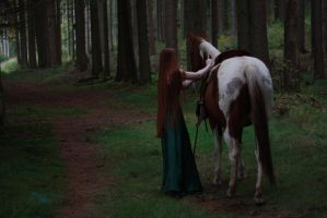 STOCK red haired woman and horse II by MyladyTane