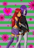 Raven and Starfire by Bagoly by raven-of-shadows
