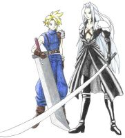 Cloud and Sephiroth by Naerko