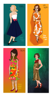 dresses in 4 different styles i don't know why by Oranjes