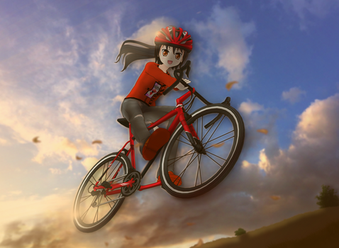 New Bike Helmet and Bicycle Action Shot by AKIO-NOIR