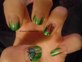 Hand painted butterfly nails by BevyArt