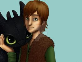 Hiccup and Toothless WIP 2 by Momoko-Kawase