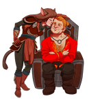 Varric and Cat by LanaChestnut