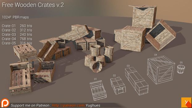[Cubebrush] Free Wooden Crates v.2 by Nobiax